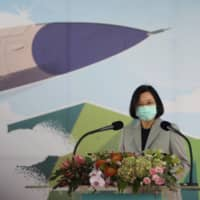 Taiwan President Tsai Ing-wen attends an inauguration ceremony for a maintenance center for F-16 fighter jets in Taichung, Taiwan, on Friday.  | REUTERS