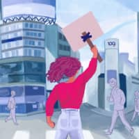 In the streets: Many small organizations supporting equality in Japan do so without the massive protests that are typical overseas.  | ILLUSTRATION BY JASMIN PENDON
