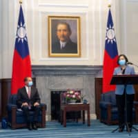 Taiwan President Tsai Ing-wen speaks during a meeting with U.S. Secretary of Health and Human Services Alex Azar at the presidential office in Taipei on Aug. 10. | CENTRAL NEWS AGENCY / POOL / VIA REUTERS