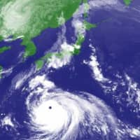 A satellite image of Typhoon Haishen on Friday afternoon as it heads toward Japan | METEOROLOGICAL AGENCY