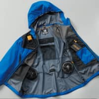 Fan-fitted jackets usually feature two fans linked to a rechargeable lithium-ion battery.   COURTESY OF BURTLE CO. LTD.