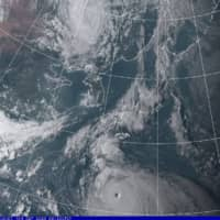 Satellite imagery of Typhoon Haishen on Friday afternoon | METEOROLOGICAL AGENCY / VIA KYODO