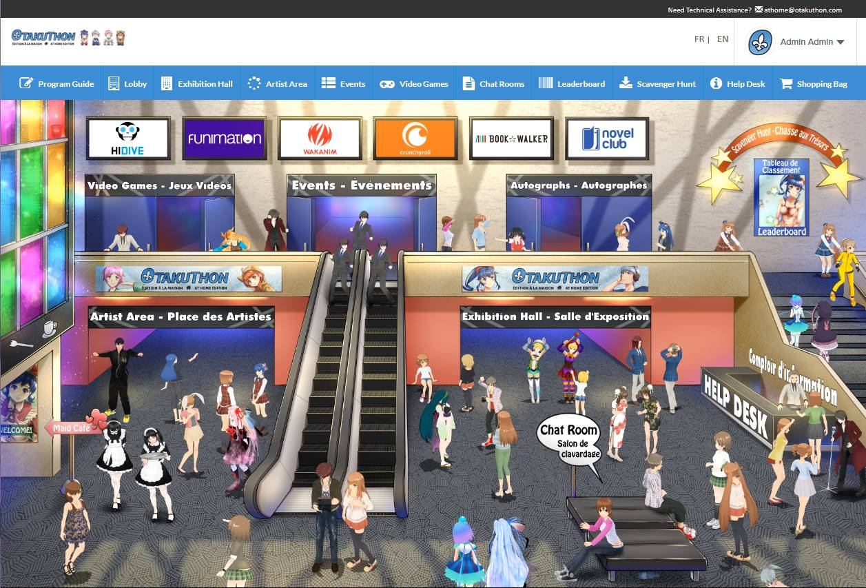 Otakuthon in Montreal, Canada, charged a modest fee for its online offerings this year, posting virtual graphics that simulate its specific physical environment (right down to fan avatars in the lobby) and stressing constant interactivity.   COURTESY OF OTAKUTHON