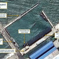 An overview of the Sinpo South Shipyard in Sinpo, North Korea, is seen in a satellite picture taken Friday. | CSIS / BEYOND PARALLEL / AIRBUS 2020 / VIA REUTERS