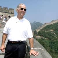 Joe Biden, then the U.S. Senate Foreign Relations Committee Chairman, visits the Great Wall of China at Badaling, north of Beijing, in 2001.  | REUTERS