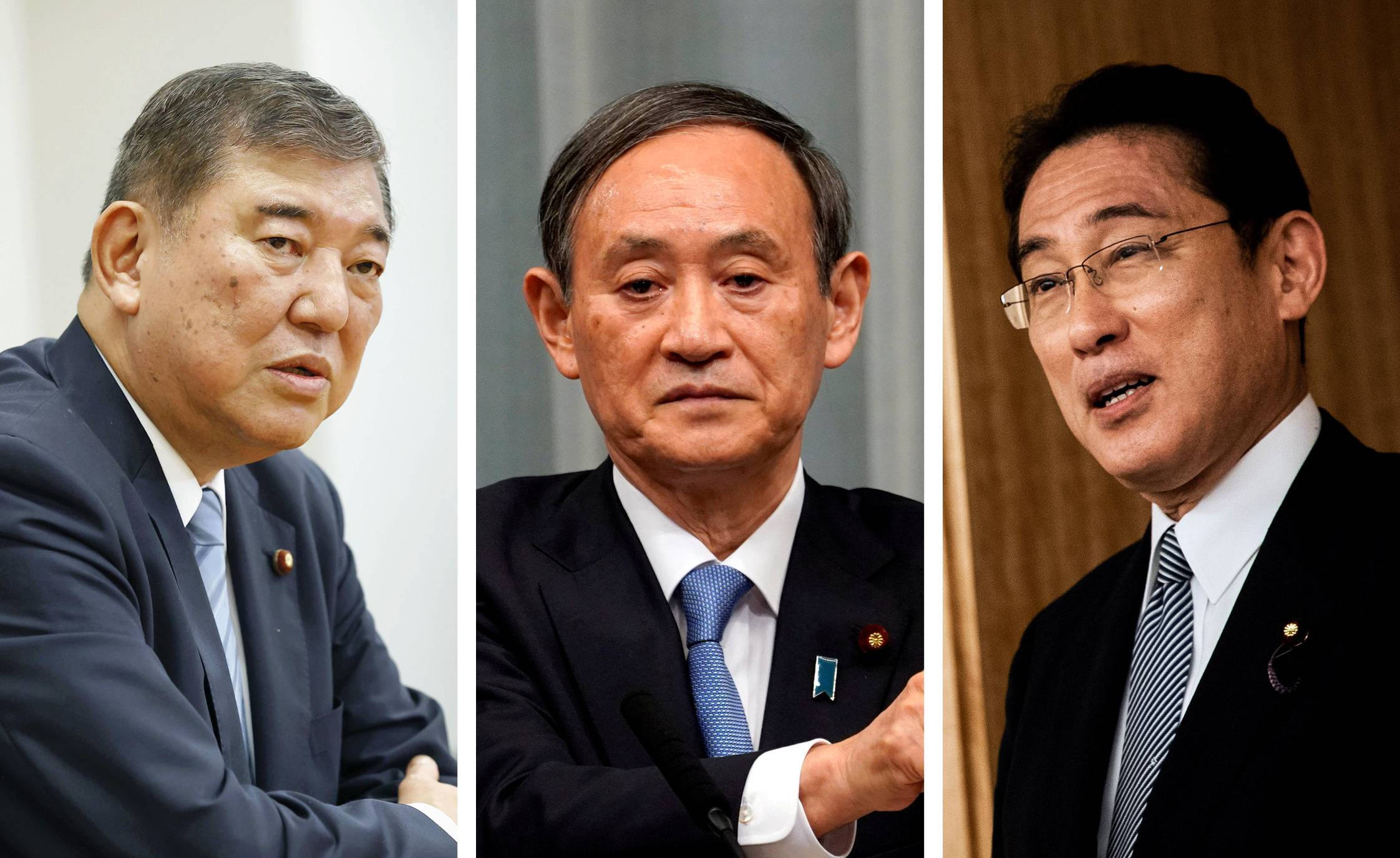 Chief Cabinet Secretary Yoshihide Suga (center) is widely predicted to be a shoo-in for the LDP presidential election, but party policy chief Fumio Kishida (right) and former defense minister Shigeru Ishiba (left) are also in the running. | KYODO, REUTERS, AFP-JIJI