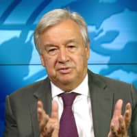 U.N. Secretary-General Antonio Guterres speaks during an online news conference on Wednesday. | UNITED NATIONS / VIA KYODO