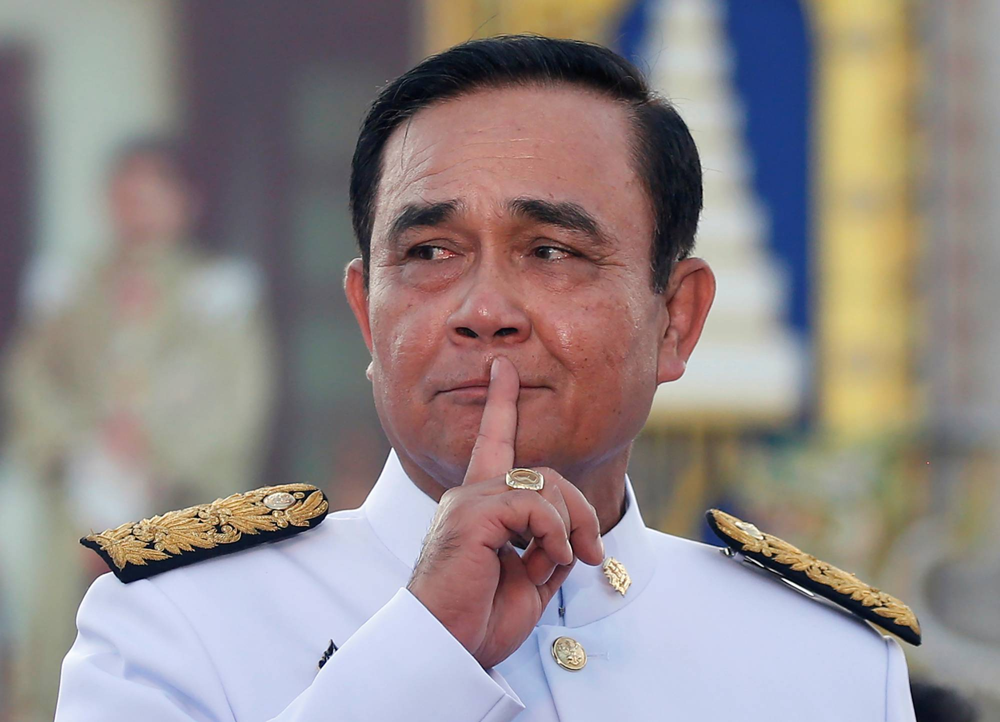 Thai Prime Minister Prayut Chan-ocha reacts while taking questions from journalists in Bangkok last year.  | REUTERS