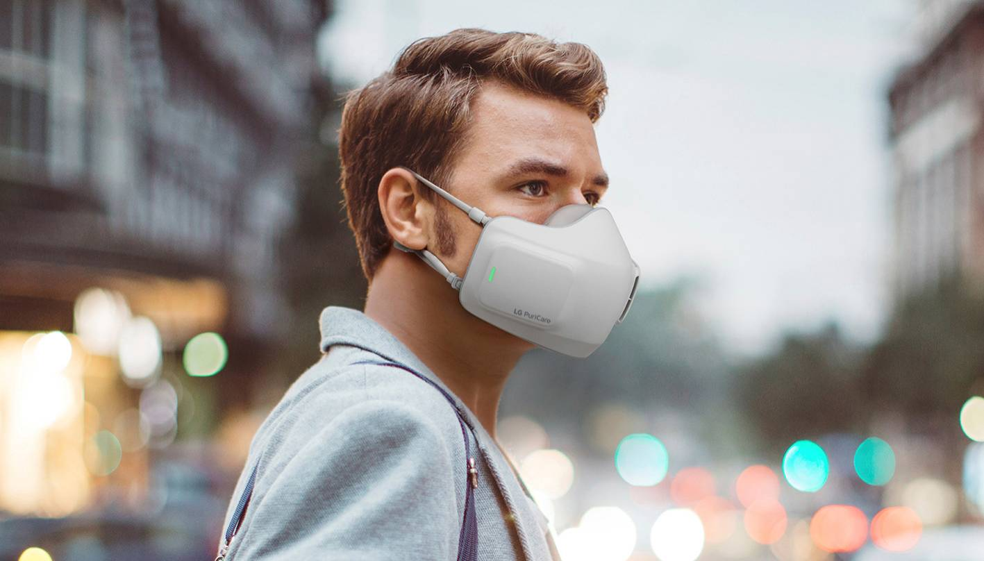 The PuriCare Wearable features two fans and high-efficiency particle air filters that clean air coming in and exhaled breath going out. | LG ELECTRONICS / VIA REUTERS