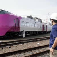 All aboard: The renovated Hamanasu express train is shown to the media in Sapporo last month.  | KYODO