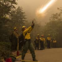 A firefighter shoots an incendiary device during a back burn to help control the Dolan Fire at Limekiln State Park in Big Sur, California, on Friday.  | AP