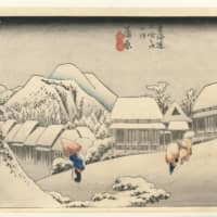 'Fifty-Three Stations of the Tokaido Road: Kanbara (Evening Snow),' Hoeido edition, by Utagawa Hiroshige I (circa 1833-34). Note the cliff at the lower left and the broad expanse at the lower right: Subtle gradations in shading against the plain white of the paper achieve the effect of deep snow, which sets off the buildings as well as the figures making their respective ways along the road. The slope of the mountain track traversing the picture forms the main horizontal axis of the work, and the line of buildings receding to the left gives the image a sense of dimension and depth. | YAMATANE MUSEUM OF ART