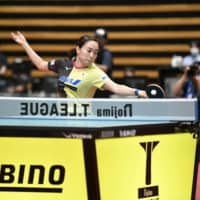 Kasumi Ishikawa competes during Monday's event.  | T. LEAGUE