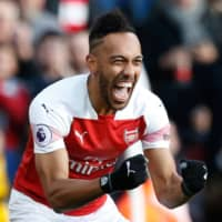 Pierre-Emerick Aubameyang has scored 72 goals in 111 appearances for Arsenal since joining the Premier League side in 2018. | POOL / VIA AFP-JIJI
