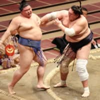 Shodai (left) is forced out by Terunofuji during their Day 4 bout on Wednesday at Ryogoku Kokugikan. | NIKKAN SPORTS