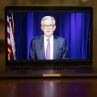 Jerome Powell, chairman of the U.S. Federal Reserve, speaks during a virtual news conference on Wednesday.  | BLOOMBERG