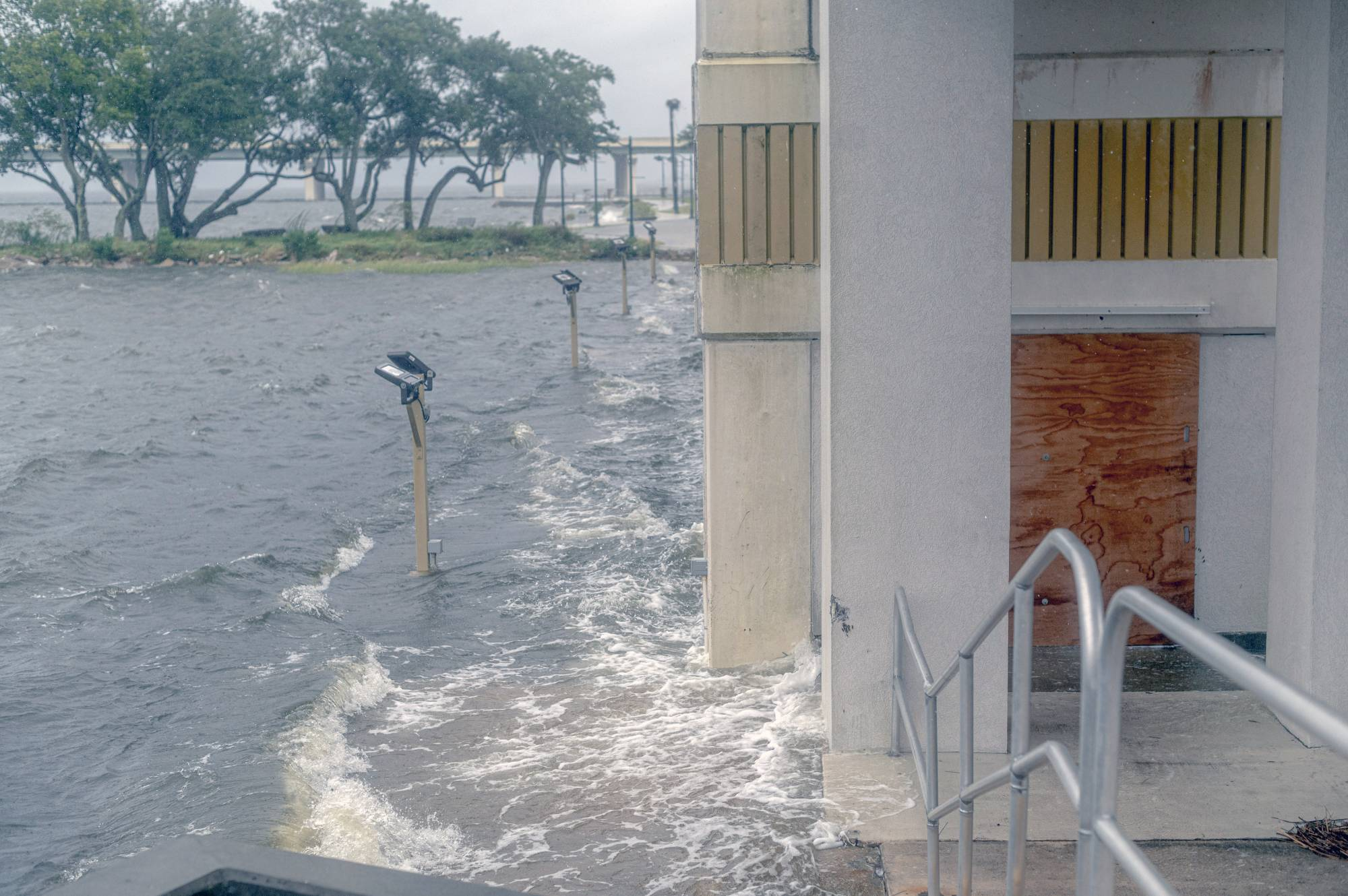Storm surge in advance of Hurricane Sally is pushed against the Palace Casino in Biloxi, Mississippi, on Tuesday. | EMILY KASK / THE NEW YORK TIMES