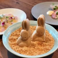 Bite-sized bunnies: Also on chef Shinsuke Ishii's menu at Sincere Blue are his trademark rabbit-shaped monaka (wafer sandwiches) stuffed with foie gras and fig.   ROBBIE SWINNERTON
