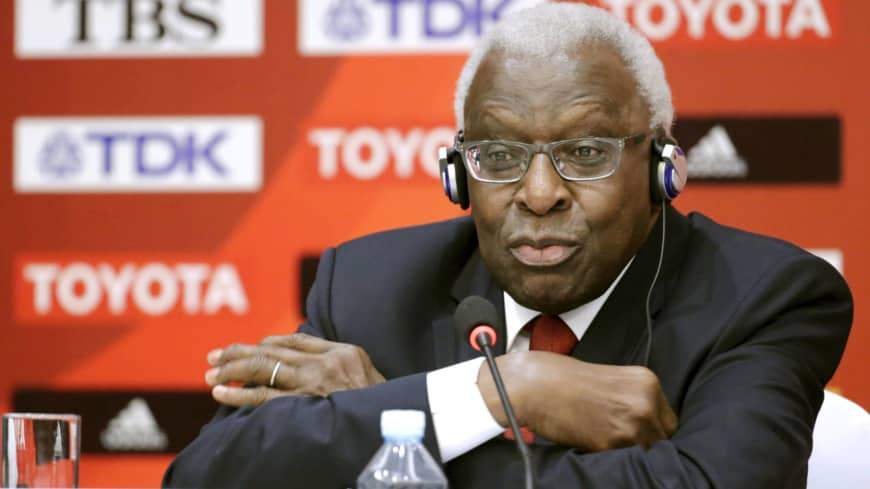 Lamine Diack speaks at a news conference in August 2015 in Beijing.