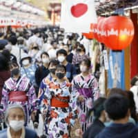 Asakusa's Nakamise shopping street is crowded in Tokyo on Monday, the third day of Japan's four-day holiday period amid continued worries over the coronavirus.   KYODO
