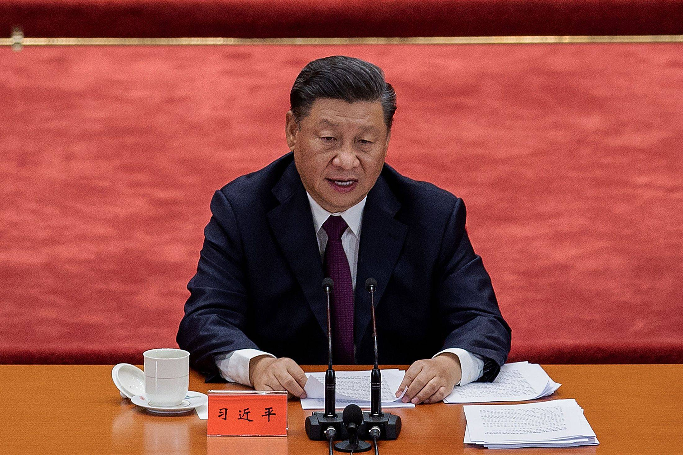 Chinese President Xi Jinping delivers a speech during a ceremony to honor people who fought against the COVID-19 coronavirus pandemic, at the Great Hall of the People in Beijing on Sept. 8. | AFP-JIJI / VIA GETTY IMAGES / VIA BLOOMBERG