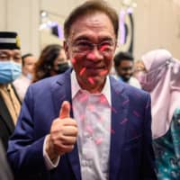 Malaysian politician Anwar Ibrahim after a news conference in Kuala Lumpur on Wednesday | AFP-JIJI