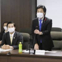 Health minister Norihisa Tamura speaks at a meeting of the ministry's expert panel on COVID-19 in Tokyo on Thursday. | KYODO
