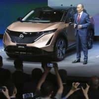 Nissan Motor Co.'s all-electric Ariya sport utility vehicle is unveiled on Saturday as the 16th Beijing Motor Show kicks off in the Chinese capital five months behind schedule due to the coronavirus pandemic. | KYODO