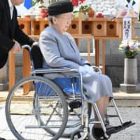Princess Yuriko is seen at the Toshimagaoka Cemetery in Tokyo after attending a memorial ceremony for her son Prince Tomohito of Mikasa on June 6, 2017, the fifth anniversary of his death. | POOL / VIA KYODO