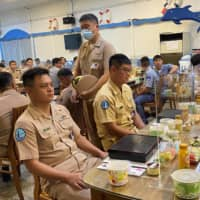 Taiwan navy sailors wait for Taiwan's President Tsai Ing-wen to arrive for lunch with them at the Zuoying naval base in Kaohsiung, Taiwan, on Saturday.   REUTERS