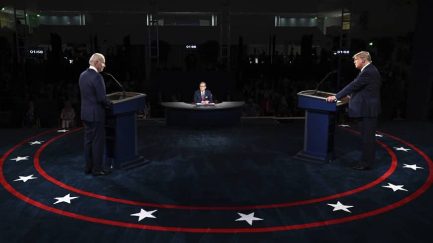 U.S. President Donald Trump and Democratic presidential candidate former U.S. Vice President Joe Biden participate in their first presidential debate on Tuesday in Cleveland, Ohio.