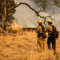 Firefighters watch as the edge of a fire creeps across a field in Napa Valley, California, on Tuesday. | AFP-JIJI