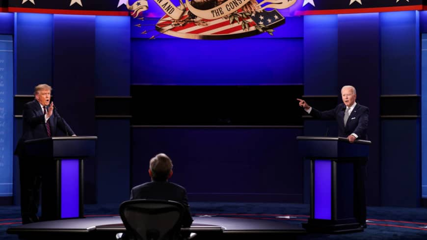 U.S. President Donald Trump and Democratic presidential nominee Joe Biden participate in their first 2020 presidential campaign debate in Cleveland, Ohio, on Tuesday.