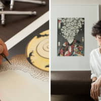 Left: The final step in an airbrush painting is to add the black lines with a brush. Right: Masumi Ishikawa, born in Tokyo in 1978, apprenticed with acclaimed ukiyo-e artist Utagawa Toyokuni VI in 2000. He's shown with his self-portrait; the kanji in the bubbles express his inner self.