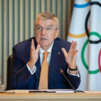 Game face: International Olympic Committee President Thomas Bach holds a virtual executive board meeting in September.  | AFP-JIJI