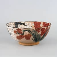 'Bowl with Cherry Blossom and Maple Leaf Design in Overglaze Enamels and Pierced Openwork' by Ninnami Dohachi, from the Edo Period (1603 to 1868) | SUNTORY MUSEUM OF ART