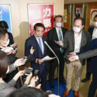LDP policy chief Hakubun Shimomura speaks to reporters Wednesday in Tokyo after admonishing LDP lawmaker Mio Sugita over her remarks about sexual violence. | KYODO
