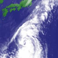 A satellite image from Tuesday afternoon shows Tropical Storm Chan-hom south of Japan.    JAPAN METEOROLOGICAL AGENCY