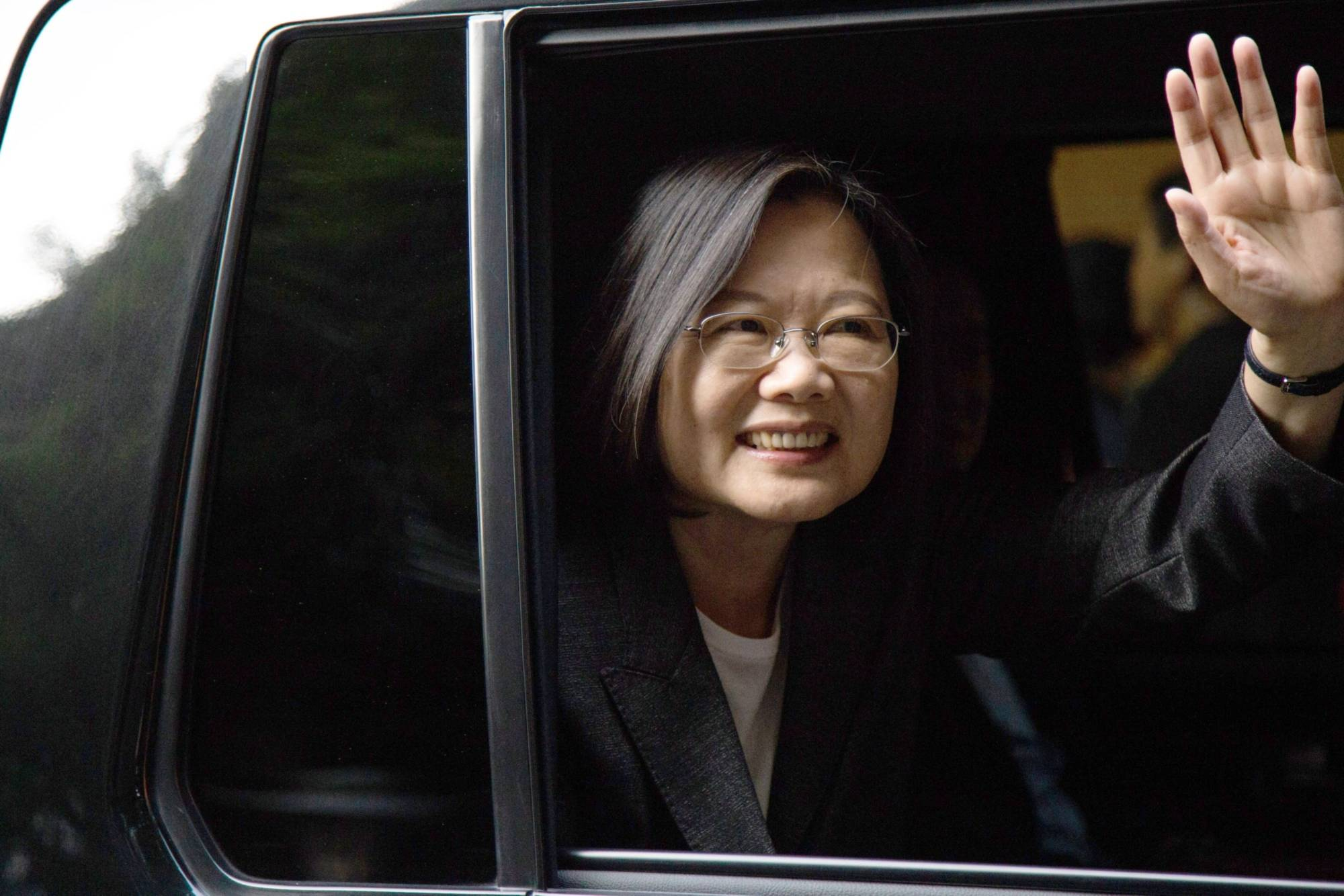 Tsai Ing-wen, Taiwan's president, leaves a polling station during a presidential and legislative election in Taipei in January. | BLOOMBERG