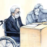 In this illustration, Kozo Iizuka appears for his first trial hearing at the Tokyo District Court on Thursday. | KYODO