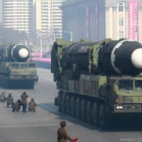 Intercontinental ballistic missiles are seen at a military parade celebrating the 70th anniversary of the founding of the Korean People's Army in Pyongyang's Kim Il Sung Square in February 2018.    KCNA / VIA REUTERS