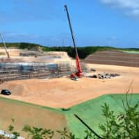 The government builds what appears to be an ammunition depot in Miyakojima, Okinawa Prefecture, on Oct. 6. | THE OKINAWA TIMES