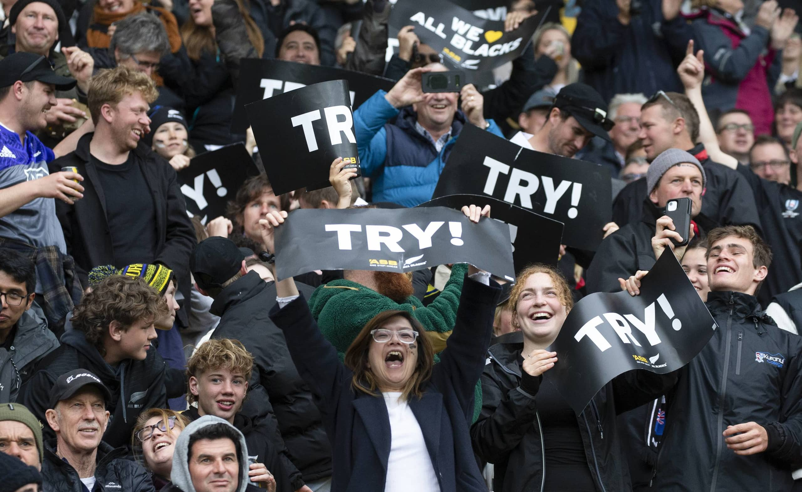 New Zealand fans cheer during the Bledisloe Cup test between the All Blacks and Australia's Wallabies on Sunday in Wellington. | PHOTOSPORT / VIA AP