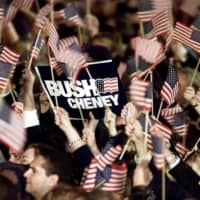 Republican supporters react after TV networks announced that Texas Gov. George W. Bush won the U.S. election, in Austin, Texas, on Nov. 8, 2000.  | REUTERS