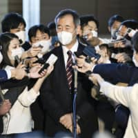 Takaaki Kajita, head of the Science Council of Japan, speaks to reporters at the Prime Minister's Office Friday after meeting Prime Minister Yoshihide Suga. | KYODO