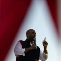 Democratic candidate for U.S. Senate Jaime Harrison addresses supporters during a rally at The Bend in North Charleston, South Carolina, on Saturday. | AFP-JIJI