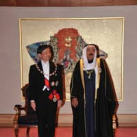 The late amir with then-Crown Prince of Japan, now Emperor Naruhito, during the same 2012 visit | EMBASSY OF KUWAIT