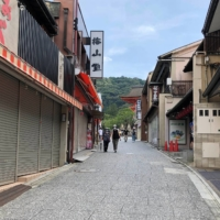 An empty street near the usually crowded Kiyomizu Temple, a popular tourist attraction in Kyoto, is seen in this picture taken in July.  | REUTERS