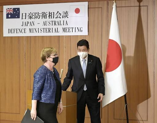 Defense Minister Nobuo Kishi and his Australian counterpart, Linda Reynolds, finish up a news conference in Tokyo on Monday.  | POOL / VIA KYODO