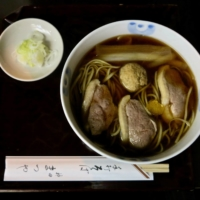 Simple food: Kanda Matsuya's kamo-nanban duck and negi soba is served without fuss or ceremony. | ROBBIE SWINNERTON